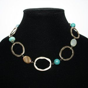 Vintage gold and turquoise necklace 17""